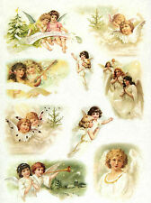 "Rice Paper Decoupage Scrapbook Sheet Craft ""Vintage Angels"""