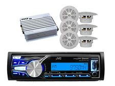 "New Boat  Marine JVC USB Bluetooth Radio Receiver,6 x 4"" White Speakers,400W Amp"