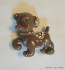 Cute Vintage Brown Enamel Puppy Dog Pin or Brooch w Jewel  Accents