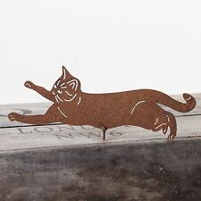 RUSTY METAL CLIMBING CAT WALL ART FOR GARDEN FENCE, SHED OR PERGOLA