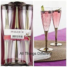 MOZAIK 6 Gold Plastic Champagne Flutes 100ml Disposable Weddings Parties BBQs