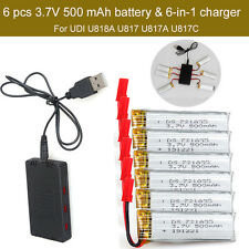 6pcs 3.7V 500mAh Battery+JST 6in1 Charger For UDI U818A U817A U817C RC Drone