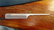 VINTAGE SWEDISH CROWN ALUMINUM METAL RAT TAIL COMB 252 SWEDEN BARBER BEAUTICIAN