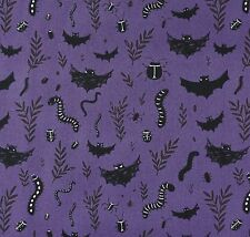 By 1/2 Yard ~ Windham Mischief Night Bats & Creepers Purple ~ Halloween Fabric