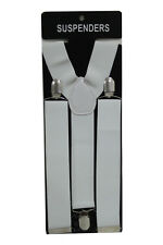 White Adjustable Braces Suspenders Mens Womens Fancy Dress Clip On Slim 3.5cm