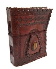 Firu Leather Diary- Handmade Paper Gemstone Embossed Blank Leather Bound Journal