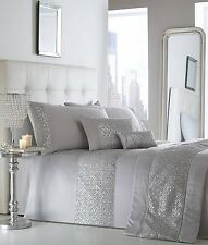 KING SIZE DUVET COVER SET SHIMMER SILVER GREY DIAMANTE SEQUIN DETAILING BEDDING