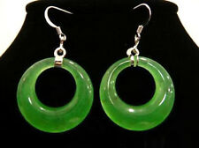 Fashion Emerald Green Jade Oval Drop White Gold Plated Hook Earrings
