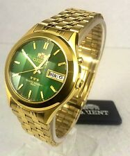 Orient Men's Automatic  watch Green Dial Gold Tone Facet Glass Box Warranty