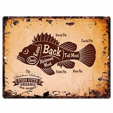 PP0644 Rust Vintage Fish meat Chart Home Shop Cafe Room Wall Interior Decor