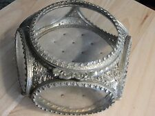 French Antique footed Brass & Beveled Glass Trinket Jewelry Box Casket