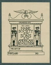 Ex Libris Bookplate for the Maine Society of the Sons of the American Revolution