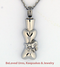 Ribbon Wrapped Around Dog Bone Cremation Pendant Jewelry Urn - Dogs, Cats, Pets