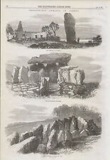 1870 PREHISTORIC REMAINS IN JERSEY MENHIR LE QUESNEL CROMLECH OF MONT ST UBE