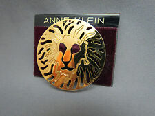 "Anne Klein Lion Head Brooch Cut Out Design New Old Stock 2"" On Card Gold Plated"