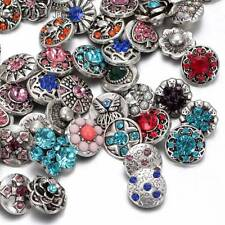 50pcs/lot Mixed Rhinestone styles 12mm metal snap button Fit snaps Jewelry