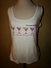 SEX AND THE CITY WHITE RHINESTONE BLING MARTINI TANK TOP  SIZE L* NEW WITH TAGS!