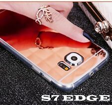 For Samsung Galaxy S7 Edge - Luxury ROSE GOLD Tpu Rubber Mirror Phone Case Cover