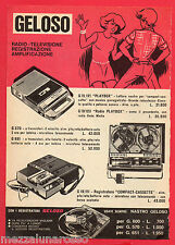 Pubblicità Advertising GELOSO 1969 Playbox/Radio Playbox/Compact cassette