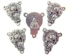"""MRT Lot Of 5 Mary Queen Of The World Silver Plate Rosary Centerpiece 3/4"""" Italy"""
