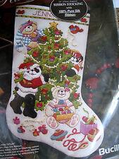 """Christmas Bucilla Crewel Silk Ribbon Stocking KIT,DECORATING TEDDIES,83314,14"""""""