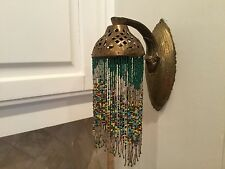 VINTAGE BRONZE BEADED SCONCE FRINGE BEADED LIGHT ELECTRIC