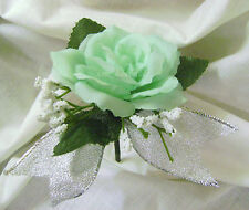 Mint*Peach*Ivory*Silver*Open Rose*Bud*Boutonniere*Corsage*Prom*Party*Quinceanera