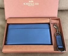 COACH LEATHER ZIP LONG WALLET 2 IN 1 GIFT BOX SET FOR MEN 64119
