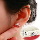 "Womens Cute ""LOVE"" Ear Studs Tiny Sweet Silver Plated Earrings Gift Jewellery"