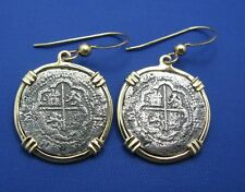 14K Solid Gold Shipwreck Coin Earrings French Wire Atocha Style Pirate Coin