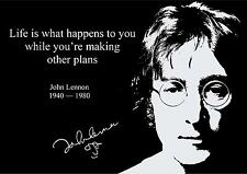 JOHN LENNON INSPIRATIONAL  QUOTE  POSTER  (2) WITH PRE PRINTED AUTOGRAPH