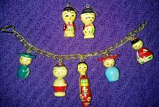Vintage 1950's Era Japanese Wooden Kokeshi Doll Charm Bracelet & Earrings-HTF