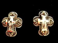 925 Sterling Silver Marcasite Bling Sparkle Cross Large Stud Earrings 18mm Boxed