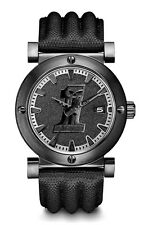 Harley-Davidson® Bulova Men's Black Custom Skull Logo Steel Leather Watch 78B131