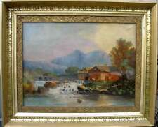 European Antique 19th Century Landscape Painting, Cottage on River, Period Frame
