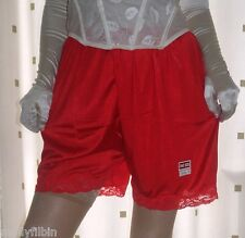 """Vintage style red silky nylon gusset french knickers panties waist 26~40"""""""