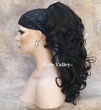 Brown Black  Ponytail Extension Hair Piece Long Curly Claw clip in on Hairpiece