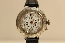 ANTIQUE RARE BEAUTIFUL RELIEF FLOWERS MOTIF LADIES SOLID SILVER SWISS 31mm WATCH