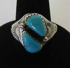 Native American Navajo Silver Turquoise Ring Size 8 Signed Bob Lincoln