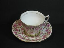 ROSINA BONE CHINA TEA CUP & SAUCER, PINK CHINTZ FLORAL PATTERN, GOLD TRIM, VTG!