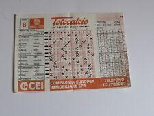 Schedina Totocalcio Concorso n°8 del 14-10-1984 - Come Foto [AF1]