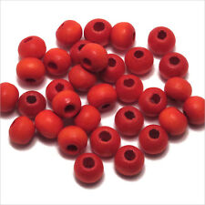 Lot de 200 Perles rondes en bois 6mm Rouge