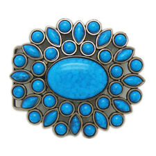 Native American Indian Turquoise Flower Floral Belt Buckle Western Cowgirl Women