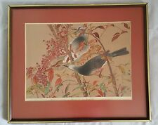 Rakuzan (Rakusan) Japanese Woodblock Print Nanding & Brown Eared Bulbul 1930