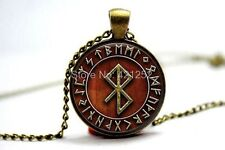 Glass Dome Cabochon Pendant Chain NECKLACE Gothic/ Steampunk : Viking Peace Rune