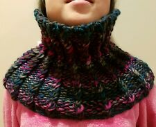 hand-knitted simple infinity scarf with Loops&Threads Facets yarn