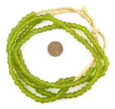 African Lime Green Recycled Glass Beads (7mm) Ghana