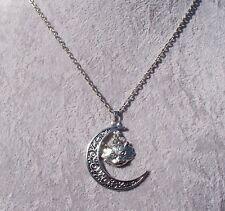 Bewitching Filigree Crescent Moon Tibetan Silver Wolf Pendant Necklace.Handmade.