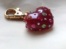 JOAN RIVERS Beautiful Crystal Cherry Red Heart Purse Charm