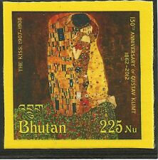"Bután 2012 Gustav Klimt ""The Kiss"" pinturas pinturas stamp on silk seda mnh"